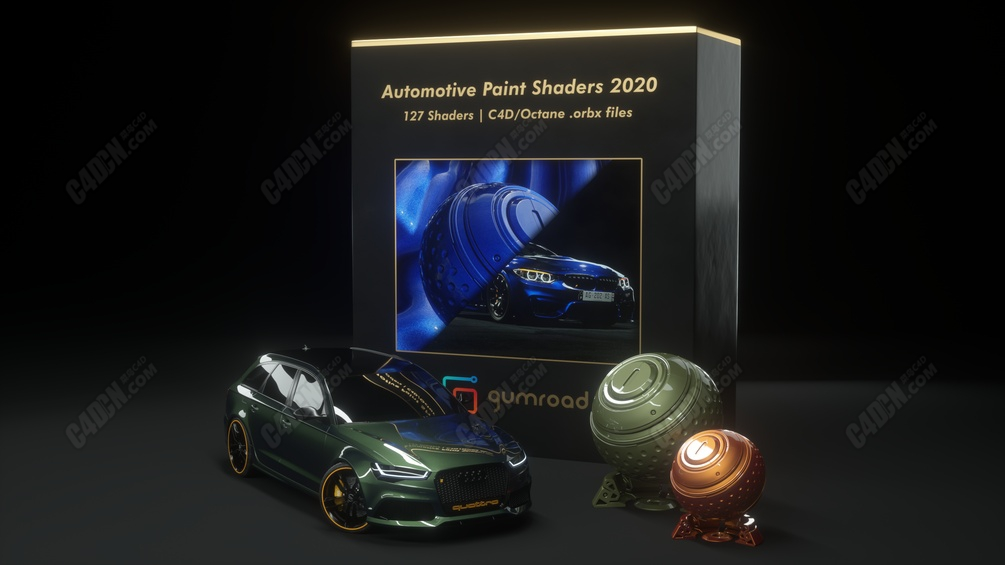 C4D Octane渲染器汽车品牌车漆材质预设 Automotive Paint Shaders 2020