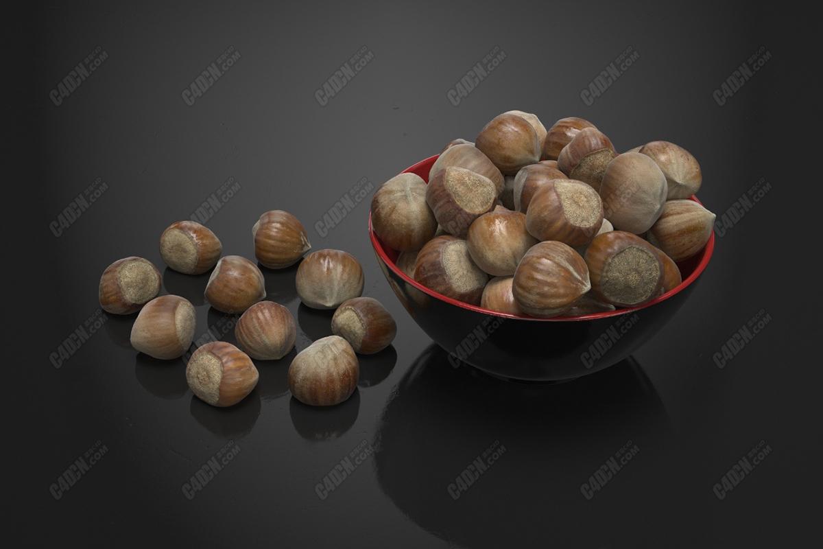 C4D炒货零食小食品板栗模型