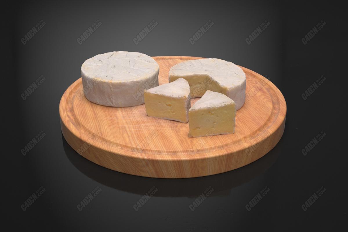 C4D奶酪黄油西餐西点佐料模型