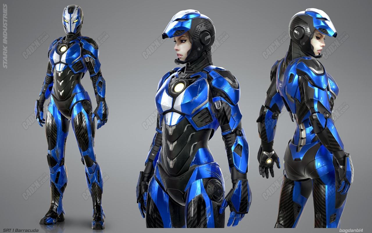 C4D女版钢铁侠钢铁女郎机械人物模型 Iron girl Mark Srt-1
