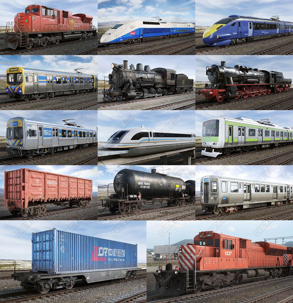14组火车地铁车厢集装箱动车高铁交通模型