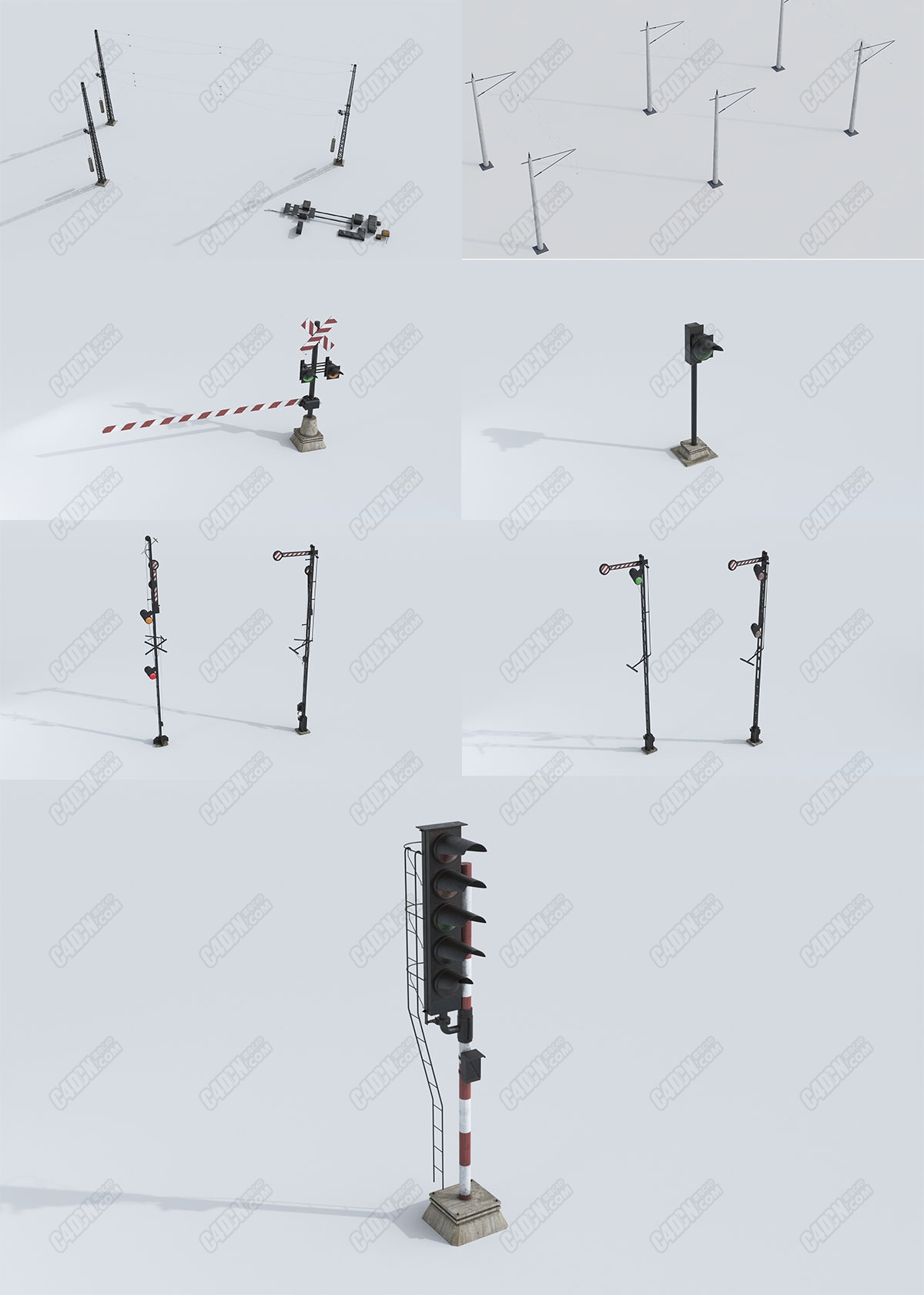 7个火车道闸口交通信号灯模型