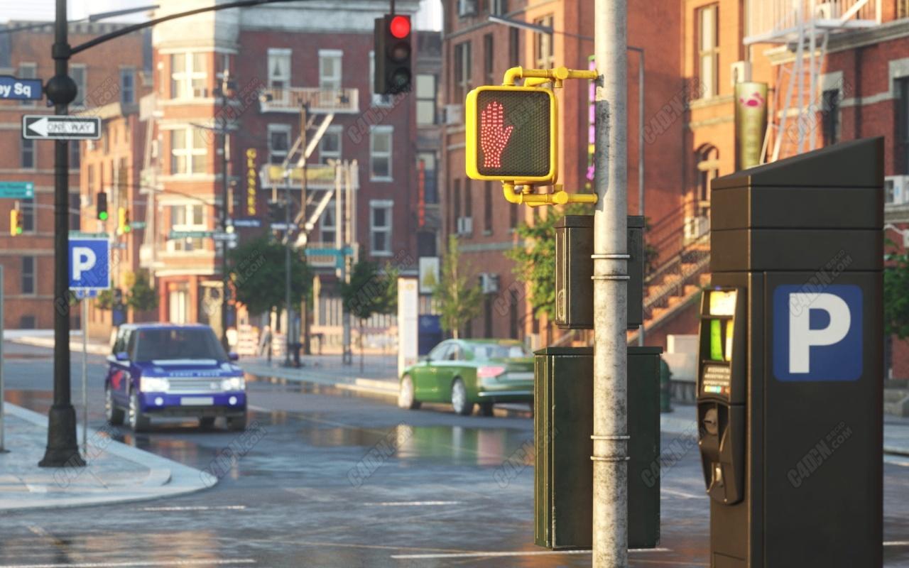 72组现代城市交通信号灯路况公共设施模型合集