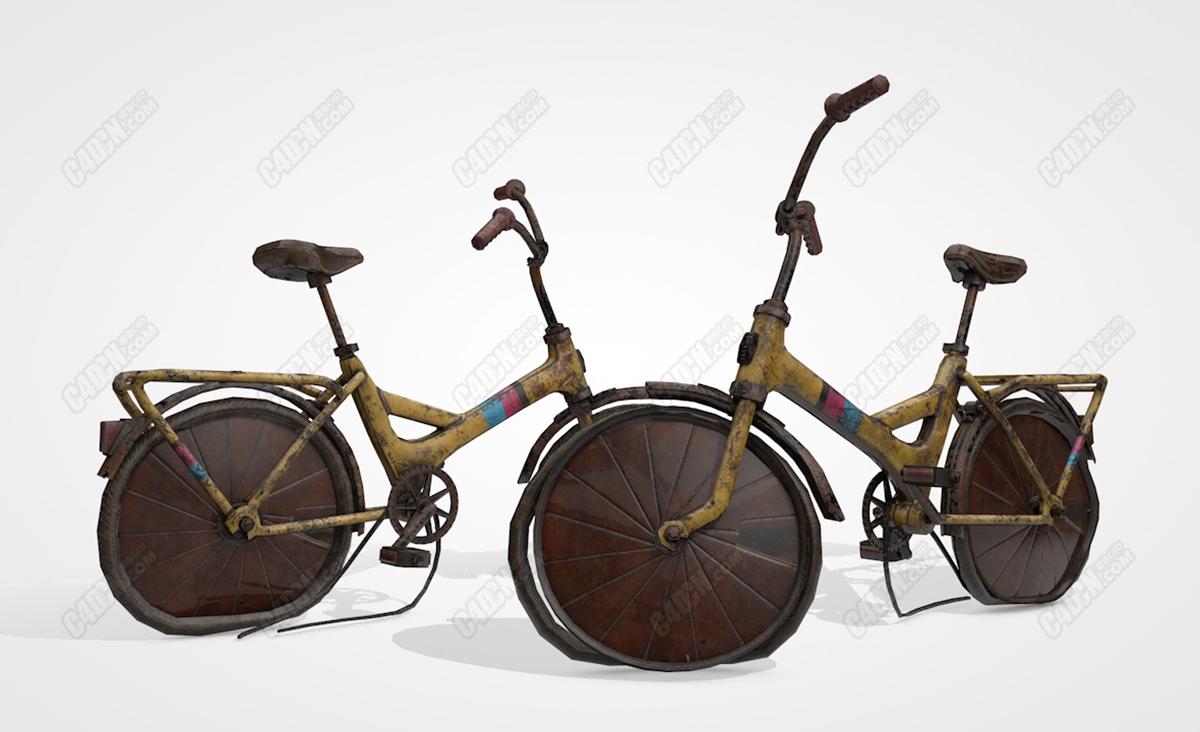 C4D破旧爆胎的报废脚踏车自行车模型