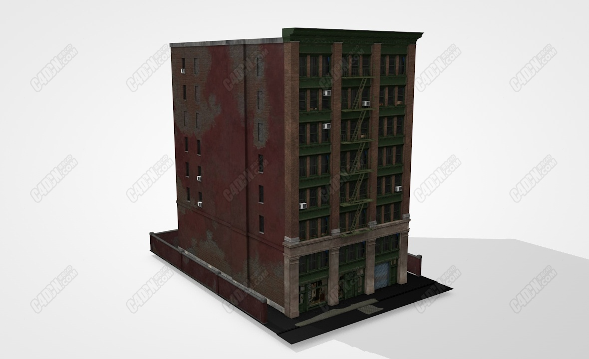 C4D美式老建筑楼房模型 Old USA building