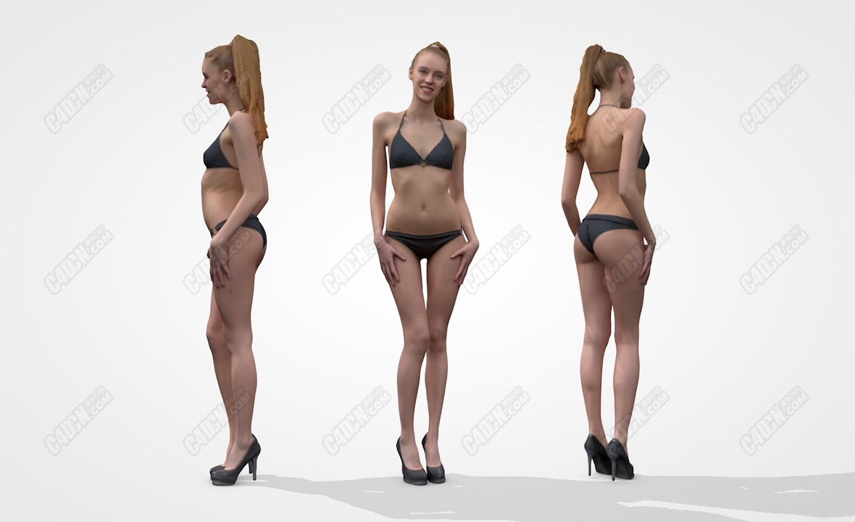 C4D黑色比基尼和高跟鞋摆pose性感女孩模型