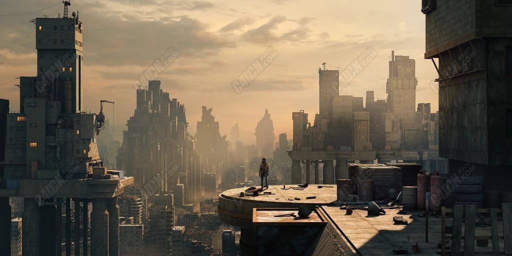 MAX未来科幻城市废墟建筑物合集3D模型
