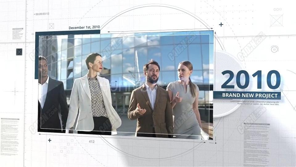 AE线条勾画时间线企业相册宣传片模板
