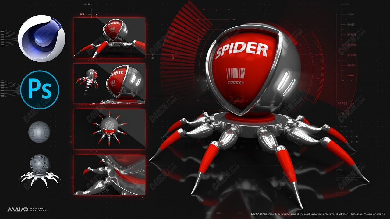 C4D+PS制作可换风格具有科技感的蜘蛛海报教程