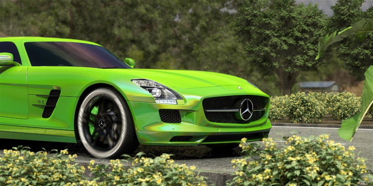 Mercedes SLS AMG 汽车渲染