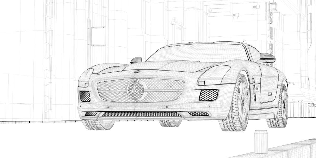 Mercedes SLS AMG 城市公路场景 线框.jpg