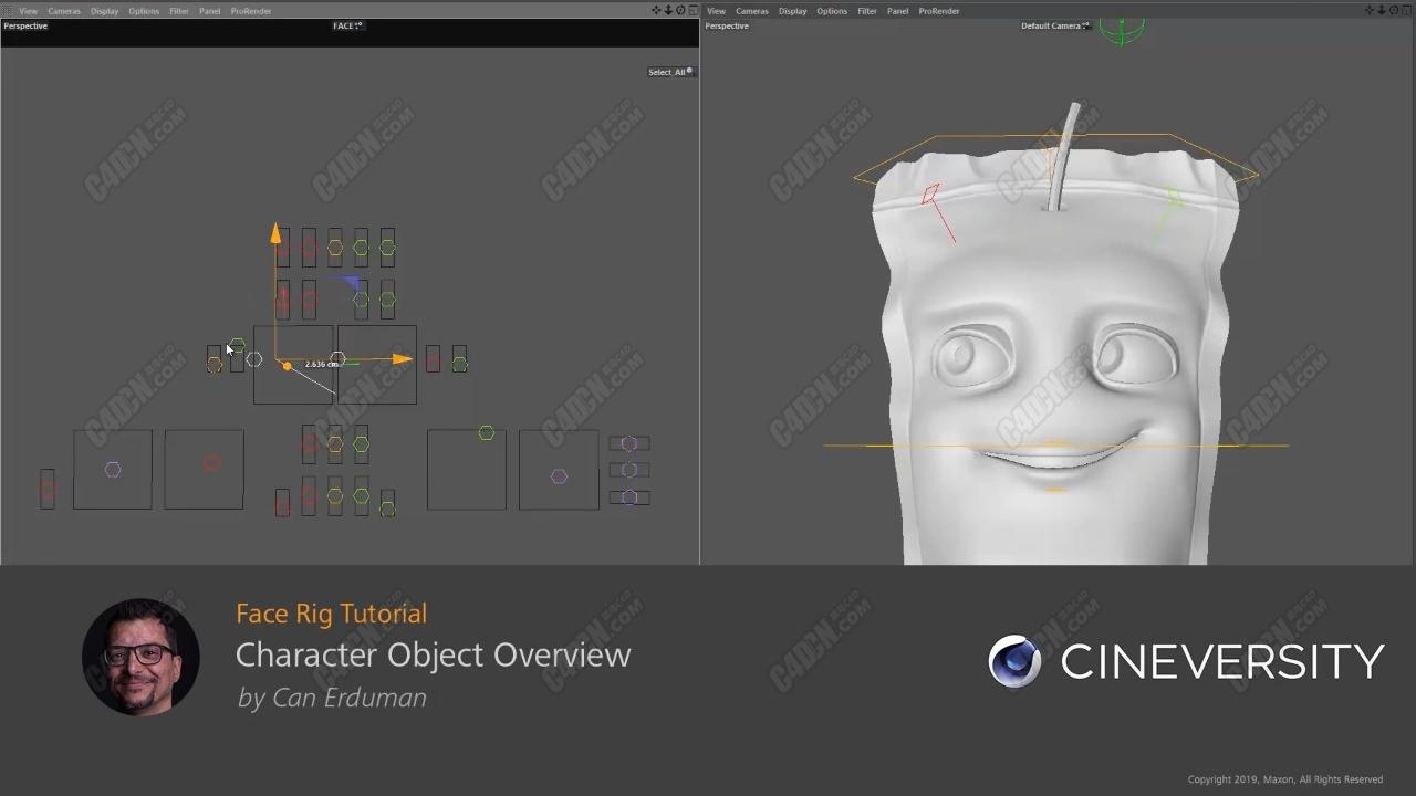 C4D R23卡通人物角色面部骨骼绑定教程