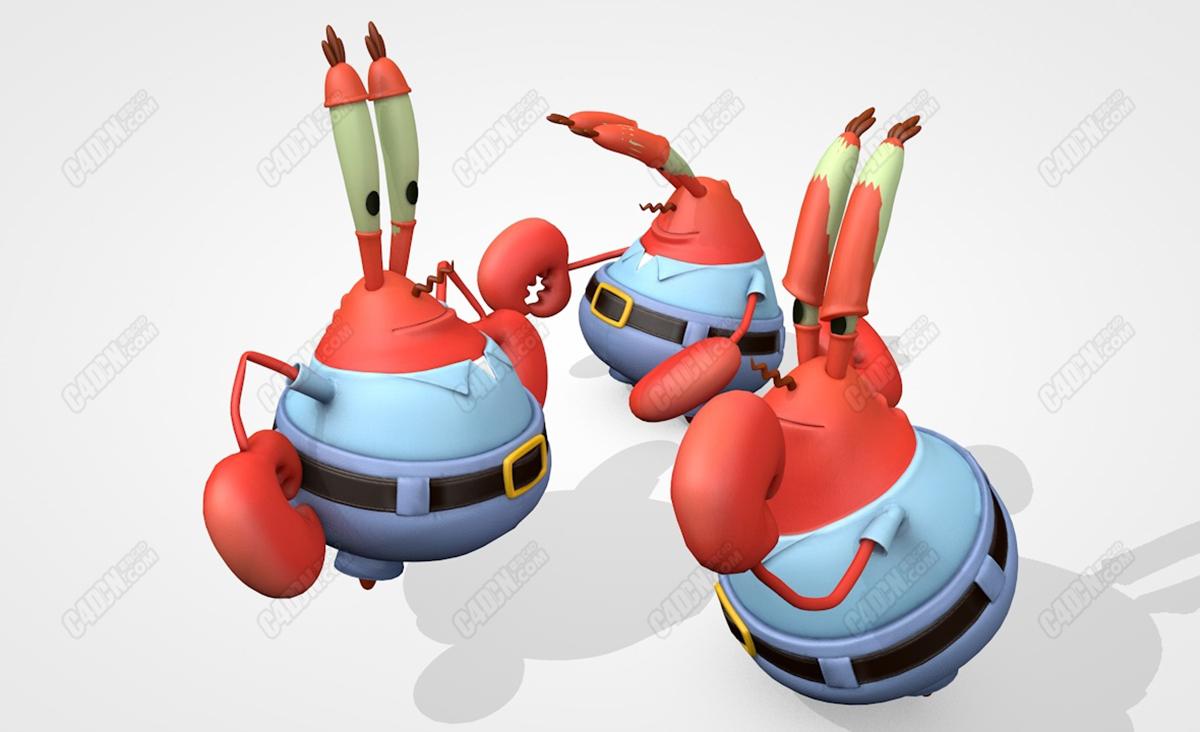 C4D卡通海洋动物MrKrabs克拉斯先生模型
