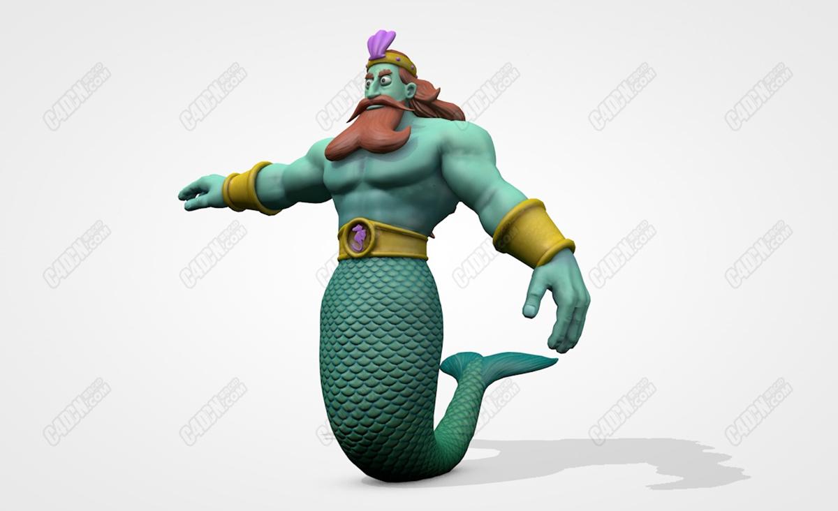 C4D男性美人鱼国王模型 King Neptune