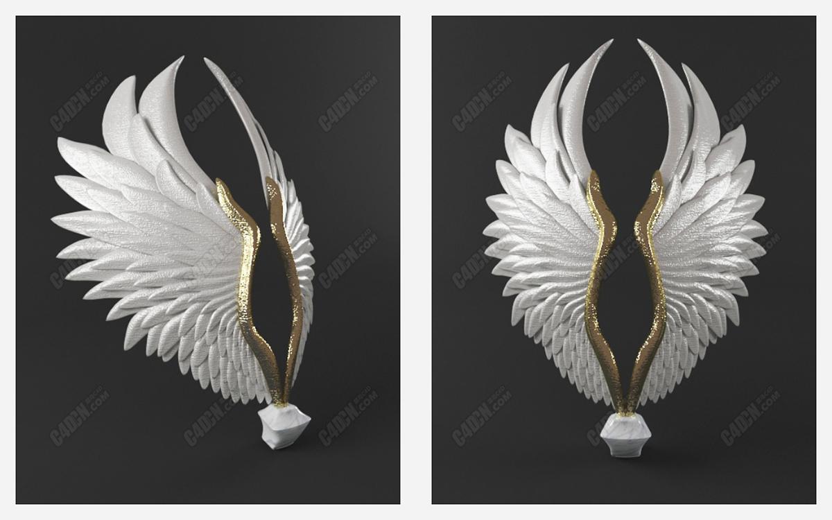 C4D天使翅膀雕塑工艺品装饰模型