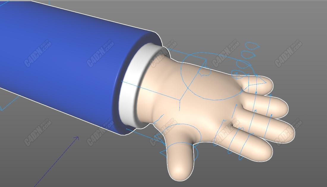 C4D卡通五指手指绑定模型