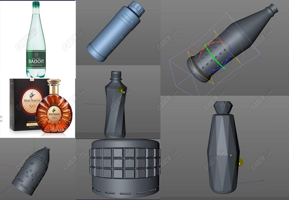 中文C4D超级瓶子布线建模教程