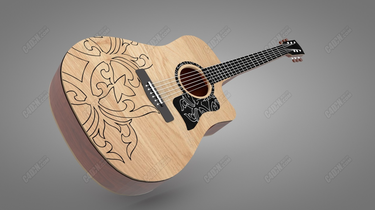 C4D木吉他模型 Acoustic guitar model