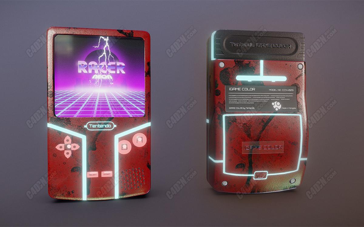 C4D游戏小子游戏机模型 Game Boy