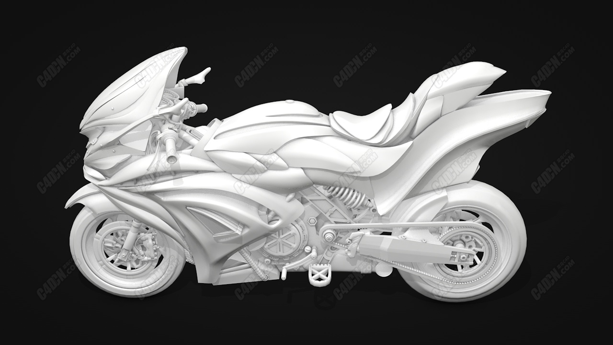 C4D摩托车酷炫机车模型 Motorcycle SZH2I2