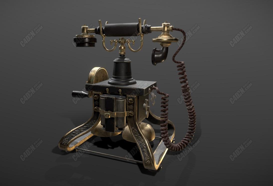 C4D旋转波轮复古电话模型