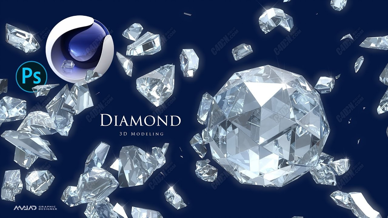 C4D水晶钻石珠宝材质建模和渲染教程