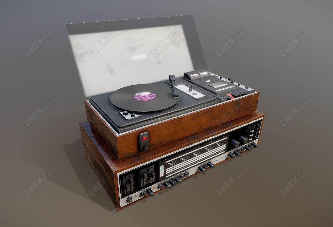 C4D复古碟式唱片机音乐播放器模型 Melodija model