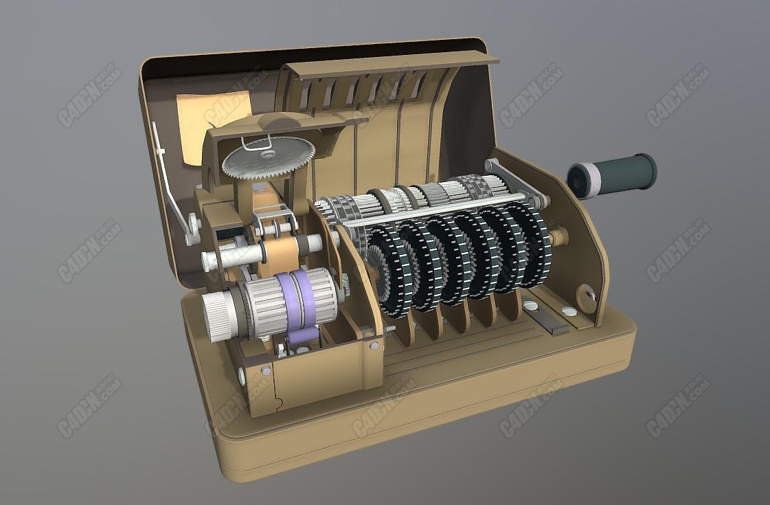C4D二战哈格林电报加密器模型