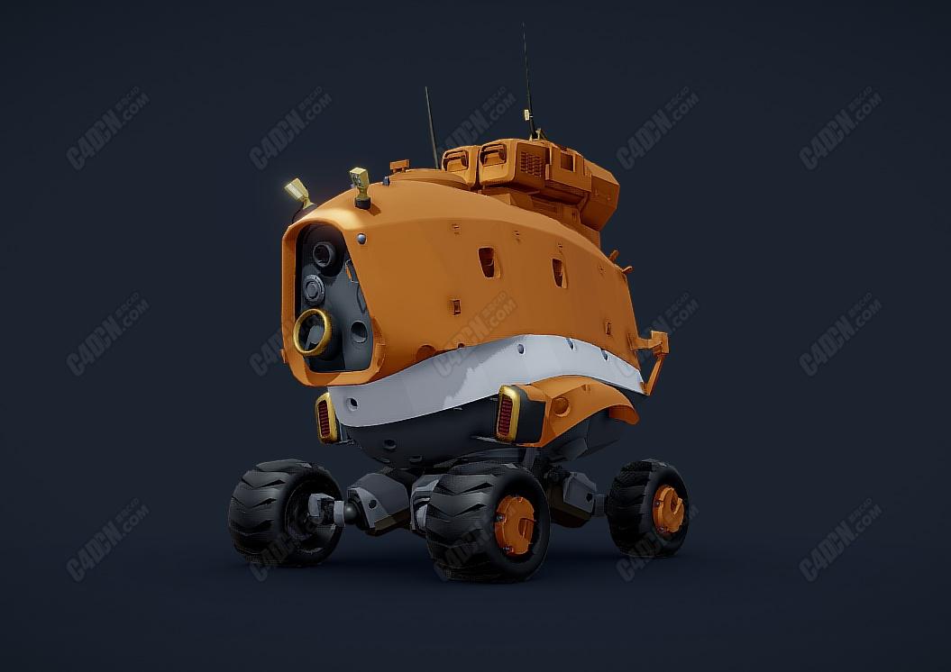 遥控C4D四轮大脚车侦查机器人模型