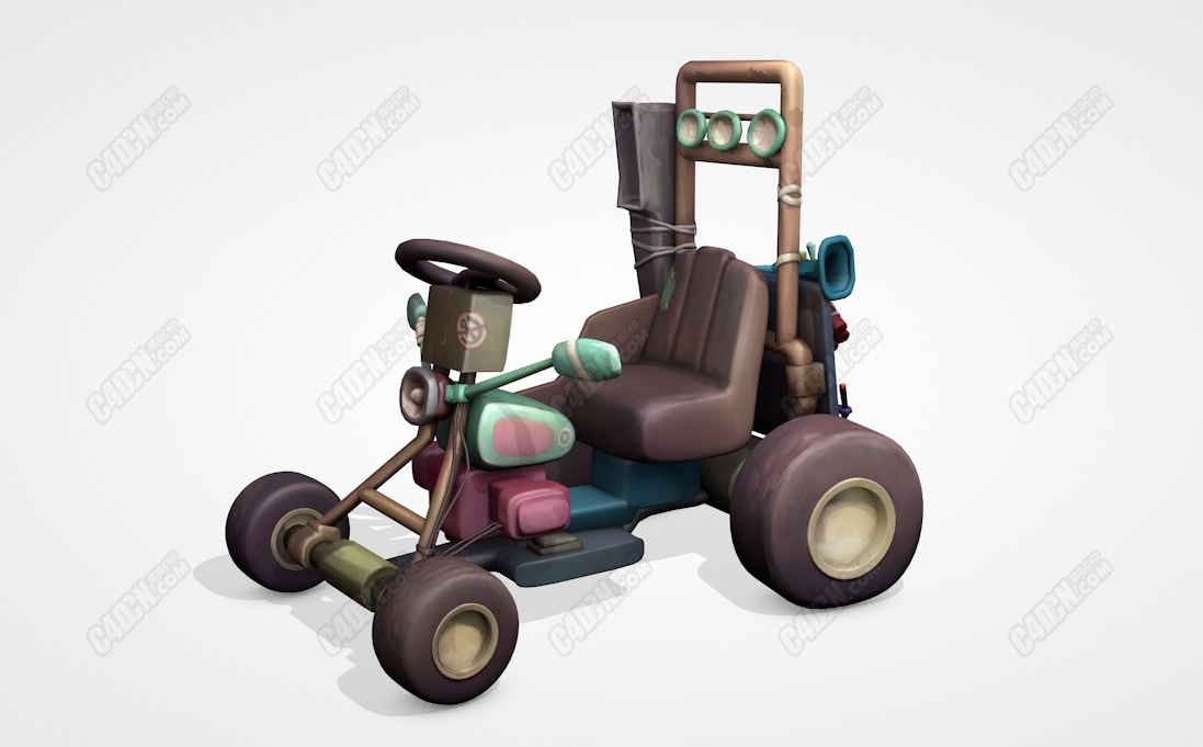 C4D卡通卡丁车助力车模型