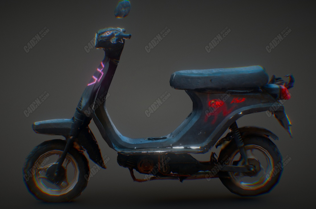 C4D破旧踏板摩托车模型