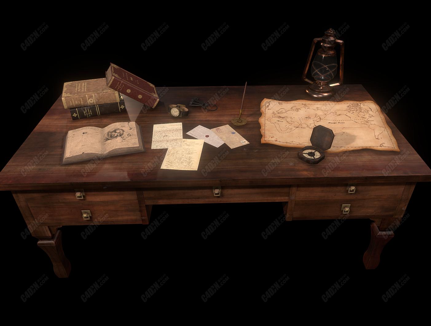 C4D书本信件指南针煤油灯地图破桌子模型