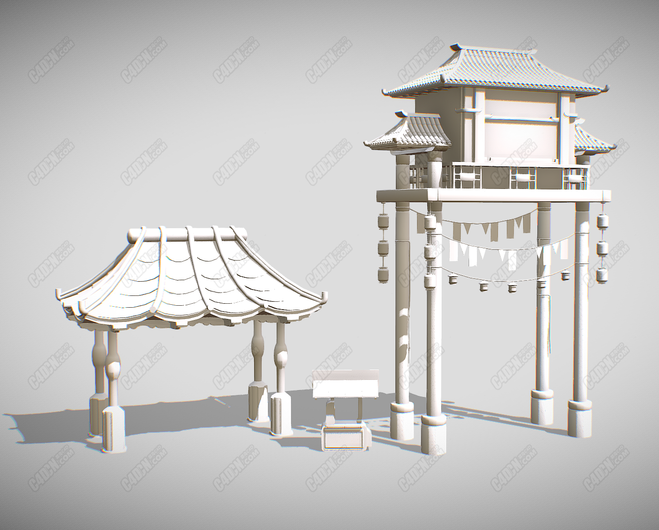 C4D仿古牌楼建筑模型