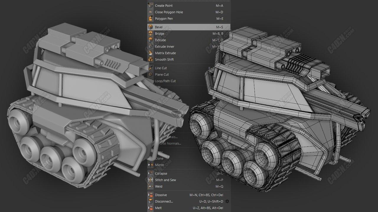 C4D卡通坦克四边面多边形建模教程