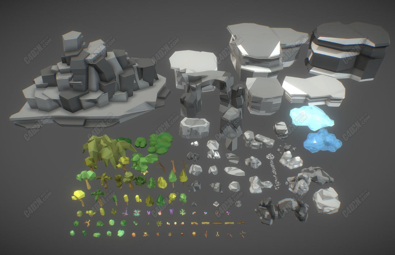C4D低面模卡通山脉岩石植物树木观赏石模型合集