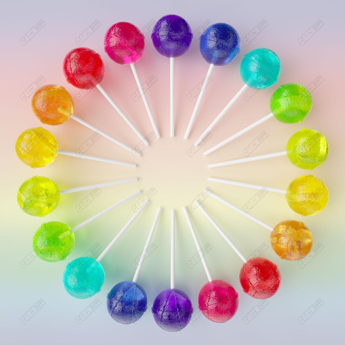 C4D五颜六色的棒棒糖果食品模型