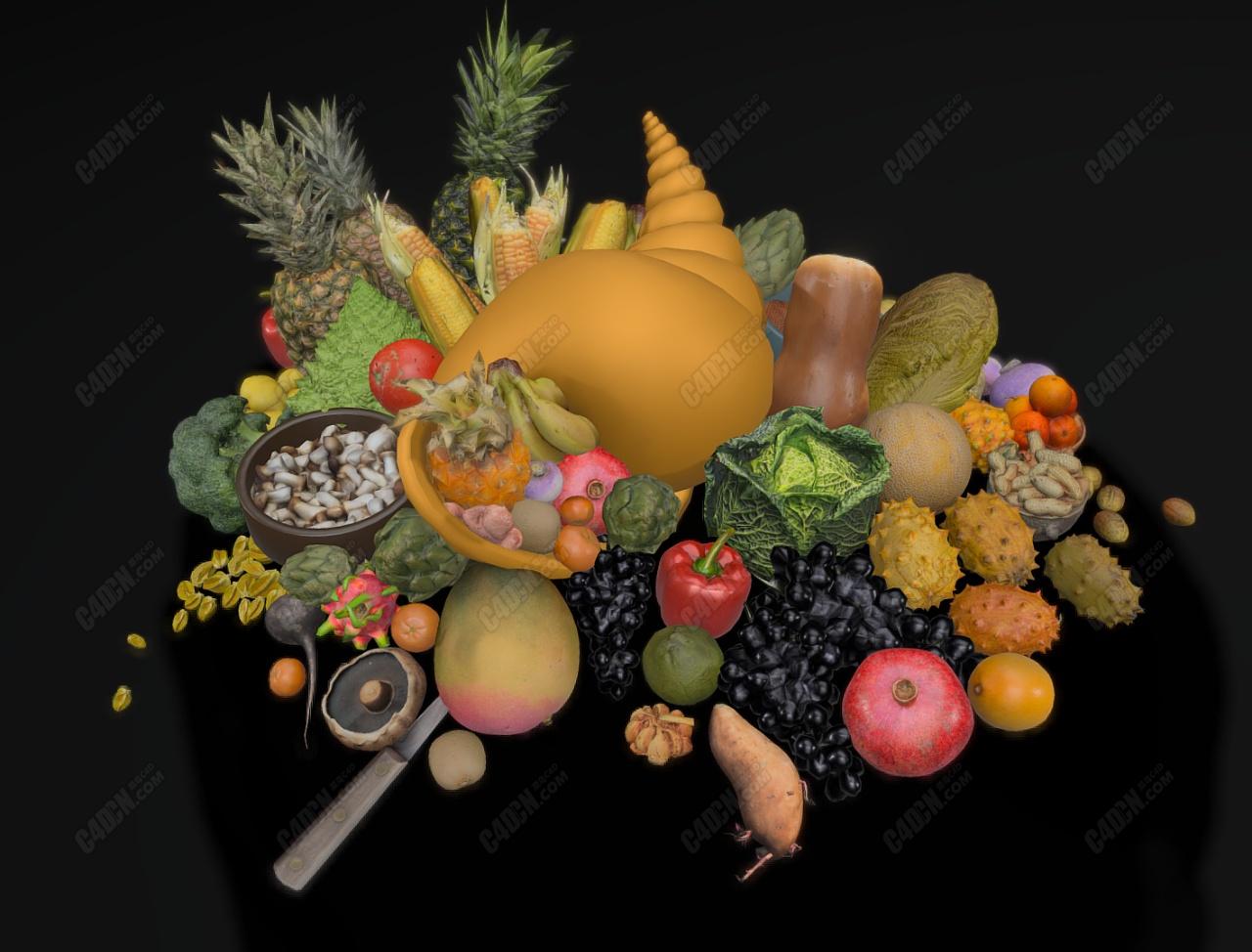 C4D蔬菜水果模型合集
