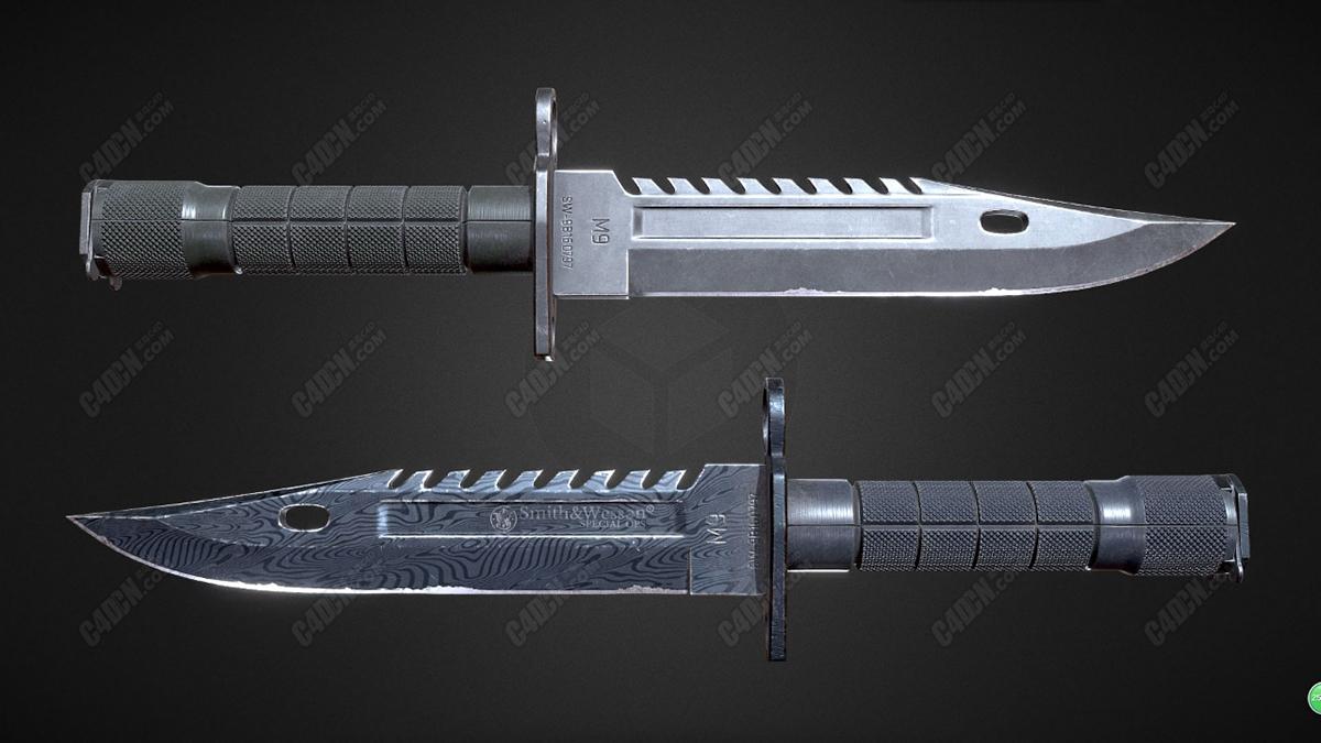 C4D史密斯威森M9卡口军刀手持近战武器模型