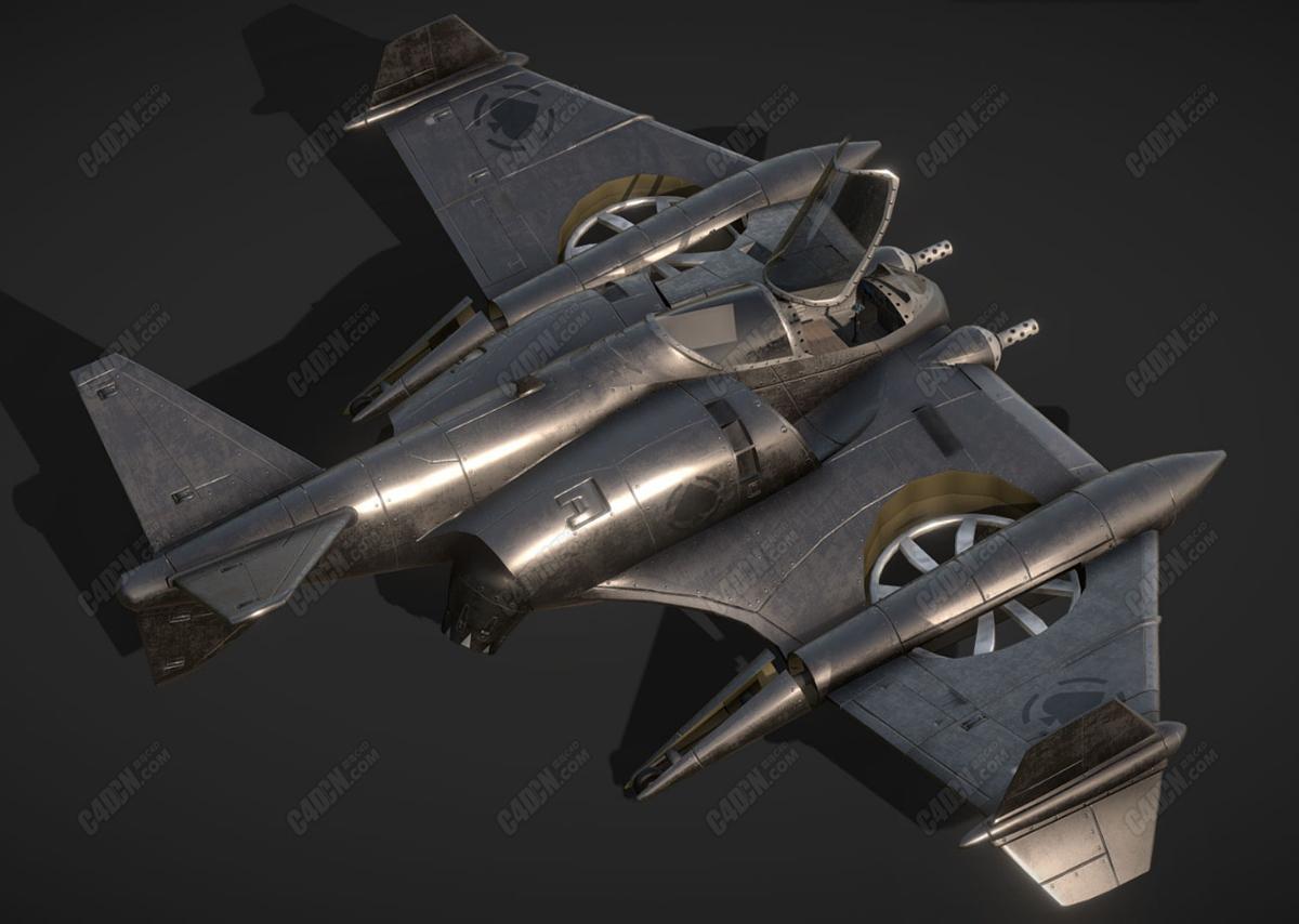 C4D双翼战斗机可直上直下垂直起落飞机模型