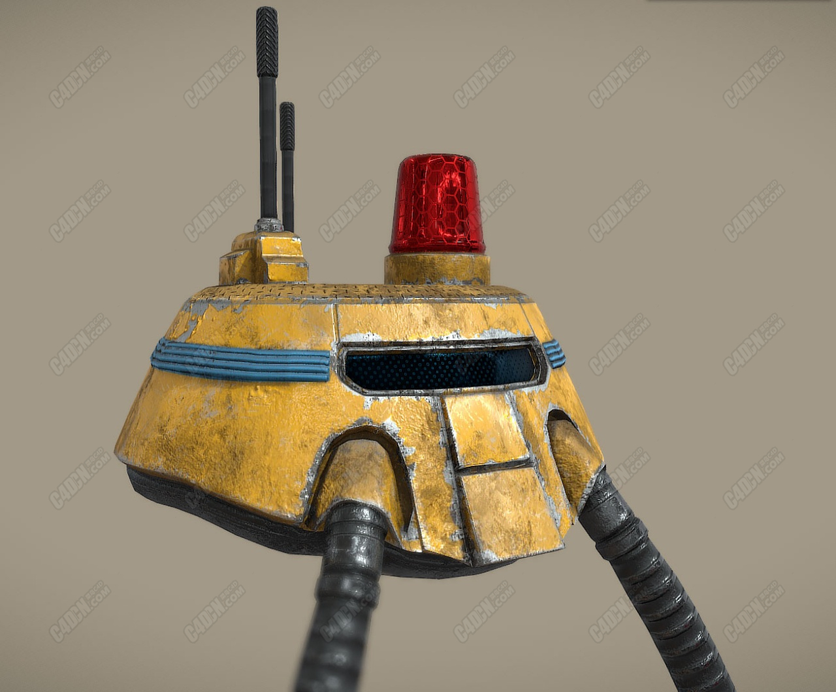 C4D红色警报机器人头部模型
