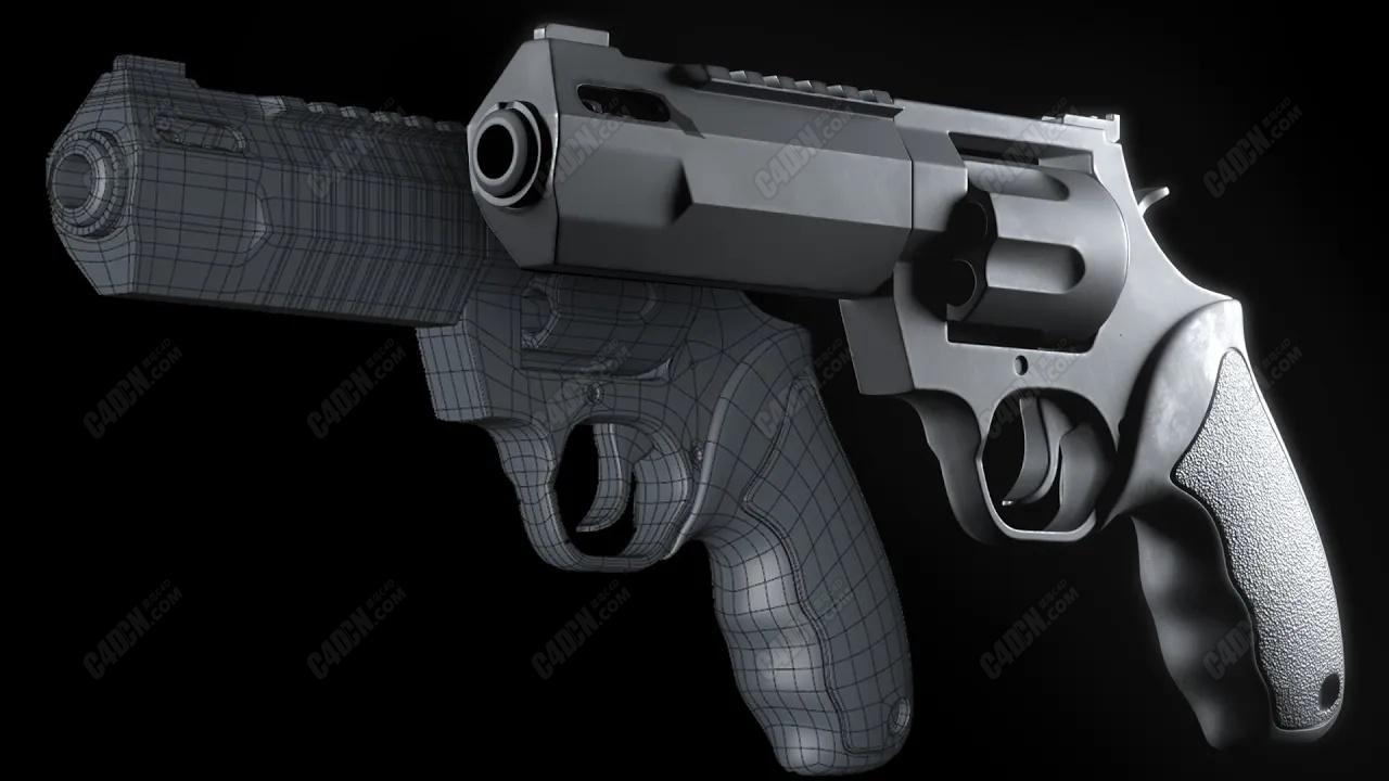 免费C4D多边形布线制作左轮手枪建模教程
