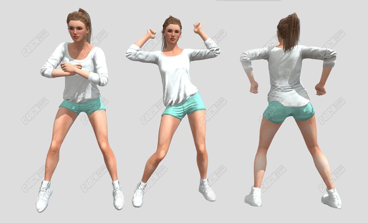 C4D青春活力跳舞的短裤金发美国女孩人物模型