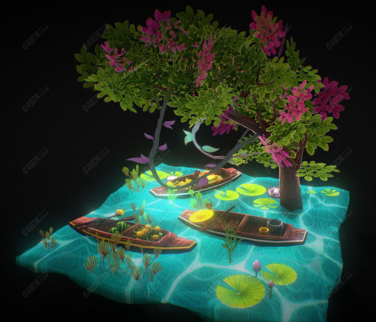 低面卡通水上载满水果的小木船C4D模型