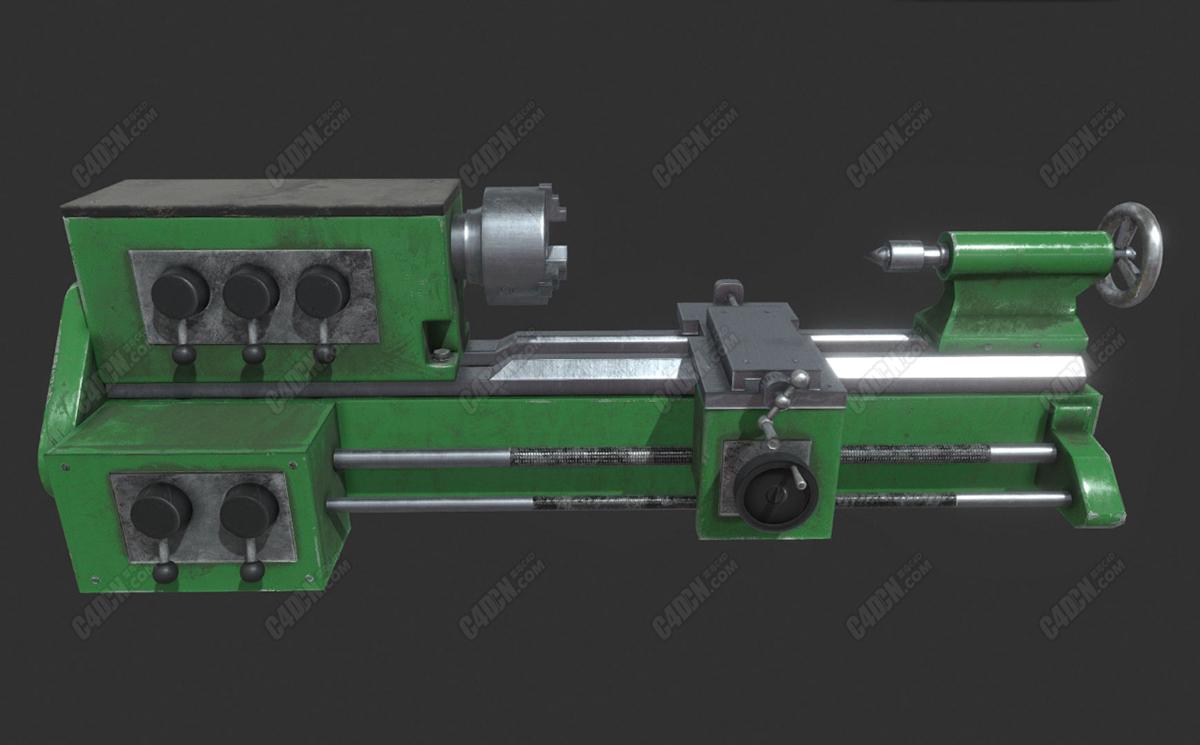 C4D机械工业车床低面模型