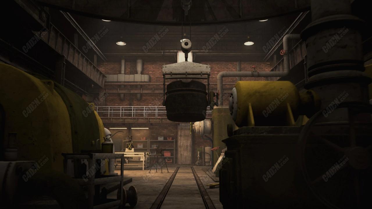 C4D科幻建筑工厂机械厂房机器模型素材合集包