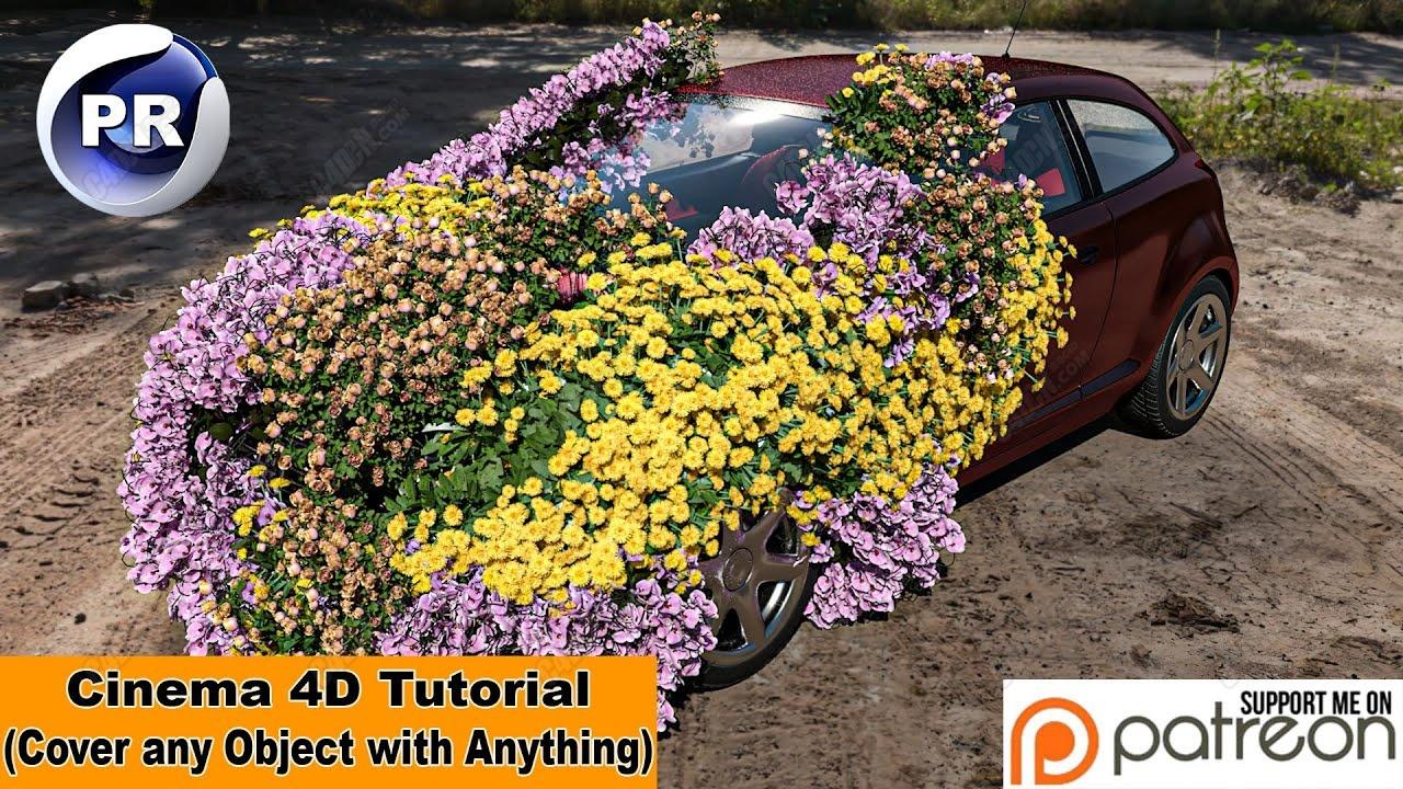 C4D汽车花朵生长教程(覆盖任何对象种植特效)