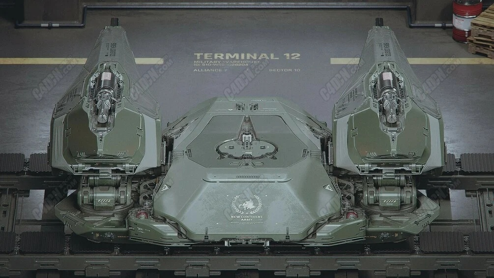 C4D科幻军用概念无人机飞行器模型