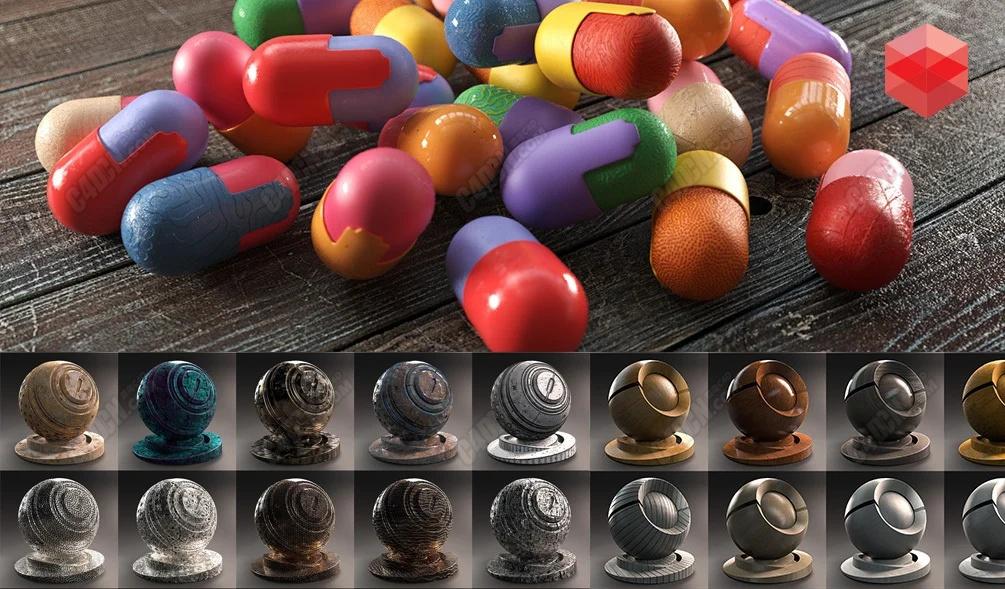 适用于Reshift4.0版本渲染器超过500种C4D材质预设大合集