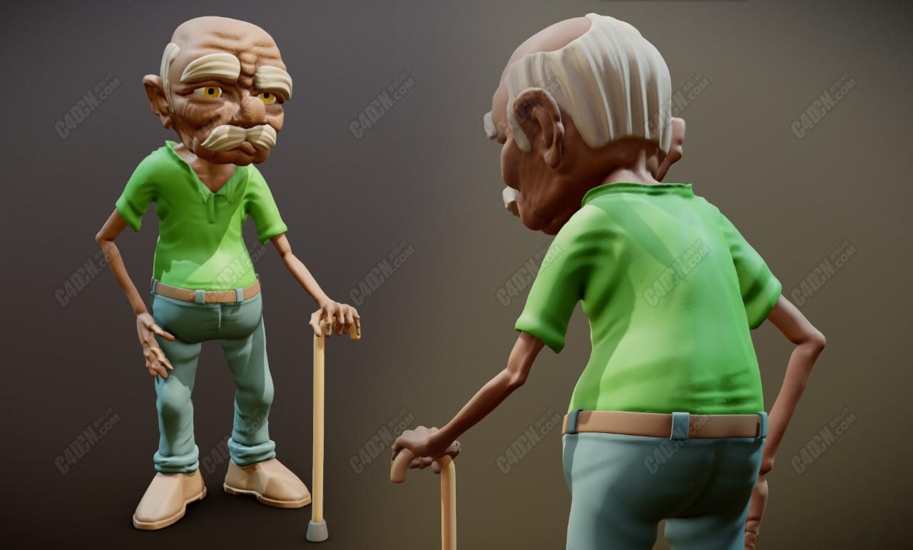 C4D卡通白发弯腰拐棍老爷爷老头人物模型