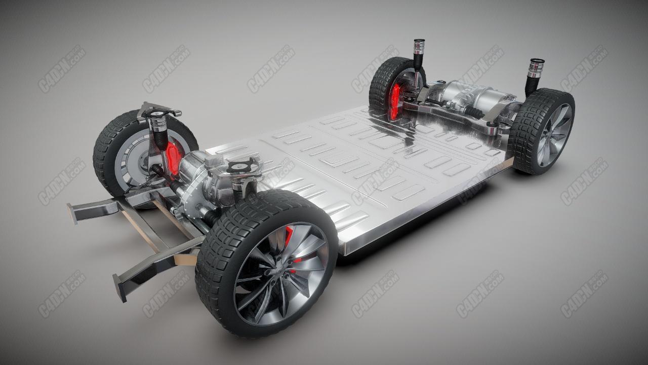 C4D工业设计模型-特斯拉汽车底盘